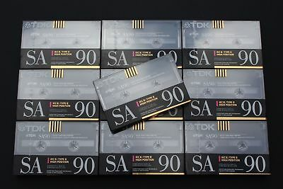 10x TDK SA90 (Type II) Blank Chrome Audio Cassette Tapes (Made in Germany) ©1990