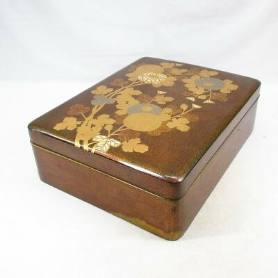 E876: Real old Japanese lacquered BUNKO hand box with wonderful KORIN MAKIE