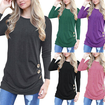 Women female Autumn Long Sleeve Loose Blouse Round Neck Tunic T-Shirt Casual Top