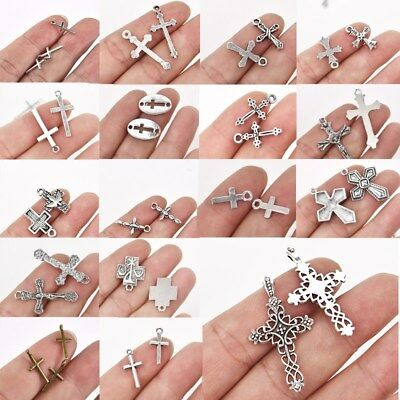 50/100pcs Antique Silver Plated Cross Charms Pendants Jewelry Making DIY Craft