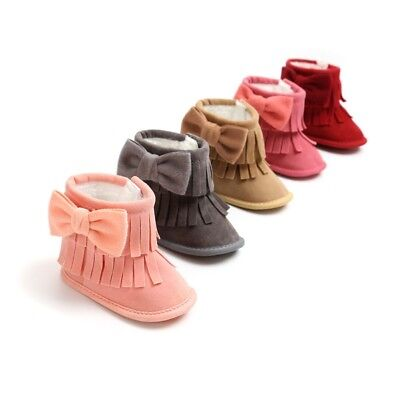 Infant Newborn Baby Girl Kids Soft Sole Boots Toddler Tassel Moccasin Crib Shoes