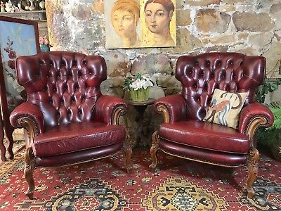 Pair Vintage Leather Louis Wingback Chesterfield Lounge ArmChair~Chair~Aged