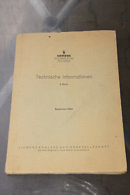 Siemens 2000 Technische Informationen Band 2 Filmprojektor Projector 16mm Sep´54