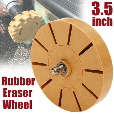 Decal Removal Rubber Eraser Wheel w/ Power Drill Arbor Adapter 4 inch Pinstripe