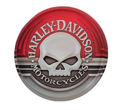 """Harley-Davidson® Wille-G Skull Red & Gray Round Tin Serving Tray (12"""") HDL-18561"""