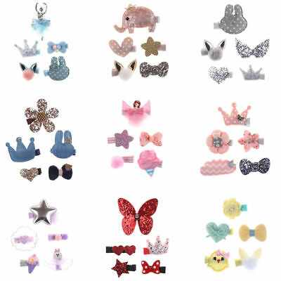 5 PCS Cute Bow Girls Hair Clips Hairpins Hair Accessories For Kids Baby Handmade