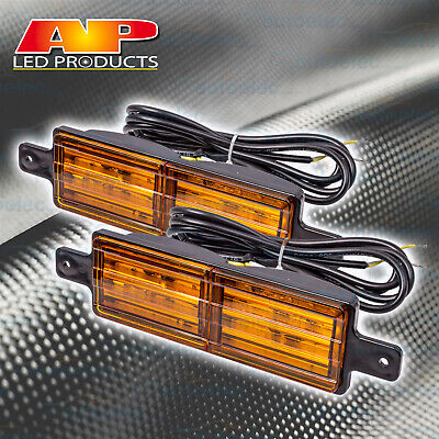 Set Of 2 Front Indicator Amber Led Bull Bar Light Sealed Bullbar Lights Pair