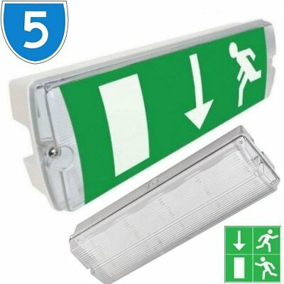 5x Outdoor LED Emergency Lighting Exit Sign Bulkhead Non / Maintained IP65 Light