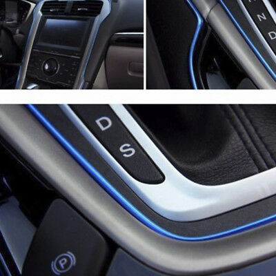 5M CAR Universal Interior Gap Decorative Blue Line CHROME Shiny AUTO ACCESSORIES