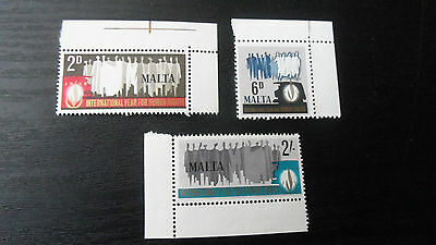 Malta 1968 Sg 399-401 Human Rights Mnh
