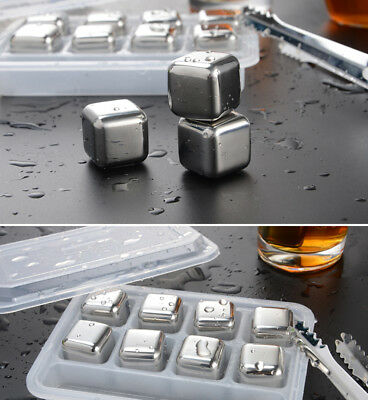 Whisky Wine Beer Cooler Ice Cubes Stone Stainless Steel 4/6/8pc Physical cooling