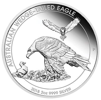 2018 $2 Australian Wedge-Tailed Eagle - 1oz Silver Proof Piedfort Coin - PM