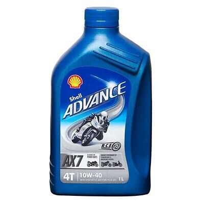 Motorcycle Engine Oil Shell Advance 4T AX7 SAE 10W40 Semi Synthetic 1L 1 Litre