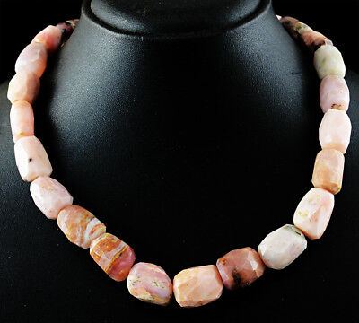 535.00 Cts Natural Pink Australian Opal Faceted Beads Single Strand Necklace