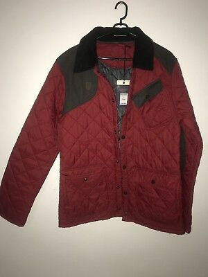 Red Barbour Style Mens Jacket Size M