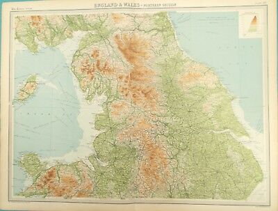 Map of Northern Britain. 1922. YORKSHIRE. LANCASHIRE. LAKE DISTRICT