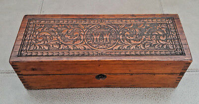 Antique Vintage  Carved  Oak Wheeler And Wilson Sewing Machine Accessories Box