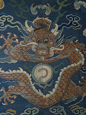 Antique Chinese Imperial Dragon Robe Fragment Dragon