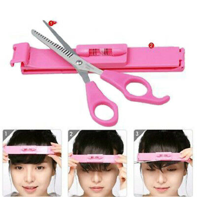 2PCS Bangs Cutting Tool Set Bangs Scissors & Level Ruler DIY Hair Cutting Tool