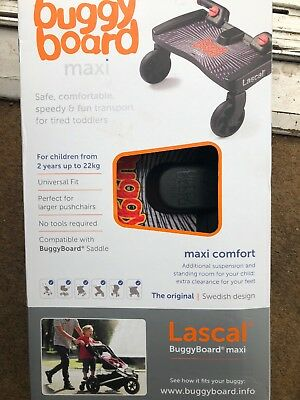 Lascal MAXI BuggyBoard Black with Universal Connectors Fits 99% of all Buggies