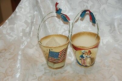 """USA AMERICANA TWO Paper Mache Basket Decopage France Candy Containers 4"""""""