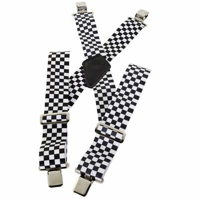 Checkered Heavy Duty Elasticated Motorcycle Motorbike Rider Trouser Clip Braces