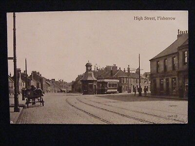 1922 High Street Fisherrow Musselburgh East Lothian Postcard With Tram Etc