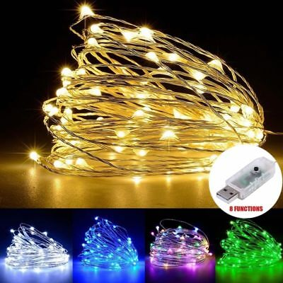10M 100LED USB Copper LED Wire Fairy String Lights Christmas Party Wedding Decor
