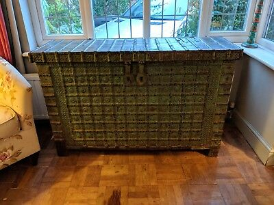 Antique Indian Teak / Iron Dowry Chest from Rajasthan
