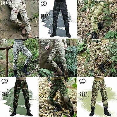 Men Outdoor Tactical Pants Army Military Combat Cargo Camo Combat Trousers @