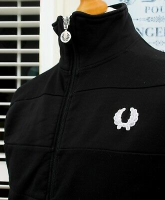 Fred Perry Black Quilted Track Jacket - S/M - Vintage Ska Mod Scooter Skins Rare