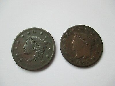 Lot Of 2 Us Large Cents - 1828 And 1835