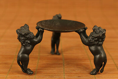 Rare chinese Old bronze hand carving Leo Lion statue Oil Lamp Candle stick art