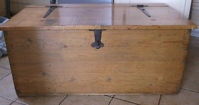 Antique Pine Chest with Candle Boxes - Lovely Wax Finish- Strap Hinges & Handles