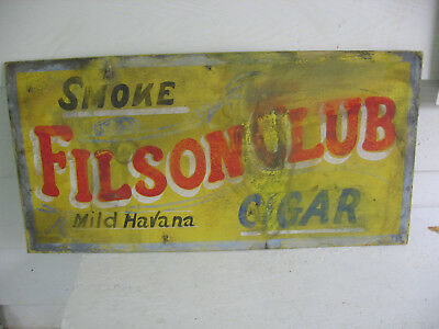 "Vintage Collectible Filson Club Cigar Cardboard Sign Poster 30""x15"" Barn Find"