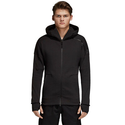 adidas Mens ZNE Hoody 2 Black Sports Gym Full Zip Hooded Breathable Pockets
