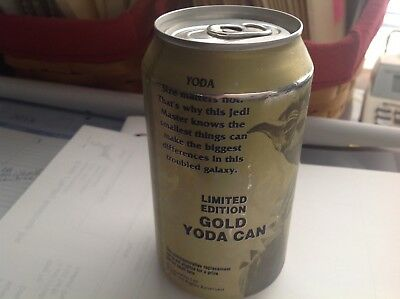 1999 Star Wars Yoda Gold Diet Pepsi Can Limited Edition Still Full Very Rare