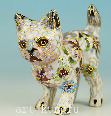Chinese Lovely Cloisonne Hand Painting Cat Statue gift Figure Noble Decoration