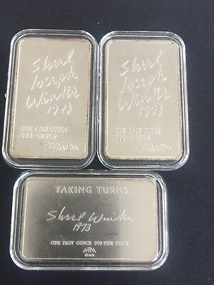 Three Silver 1 Troy Oz Ingots By. Shirl Joseph Winter