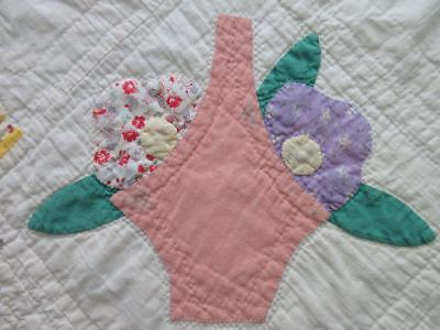 Vintage Applique Feedsack Posies in a Basket Table Quilt RUNNER 26x12