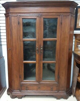 Antique French Walnut Armoire Cabinet  Hand Poured Glass Canted Sides 1800's
