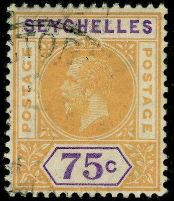 SEYCHELLES SG79, 75c yellow & violet, FINE USED.