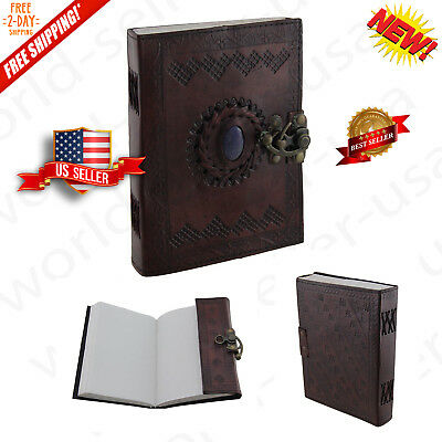 Vintage Leather Stone Unlined Journal Diary With Clasp Lock 240 Pages - Brown