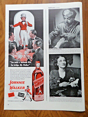 1943 Johnnie Walker Scotch Whiskey Ad  Welcome Fifth for Bridge Mr Walker