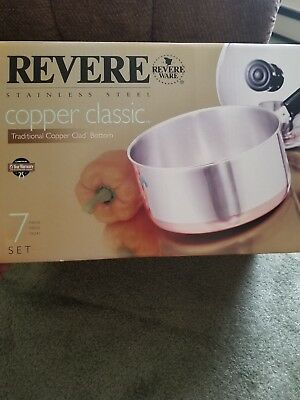 *NEW in Box*~Revere Ware Copper Clad Bottom 7 Pc Stainless Steel Pot Pan Set