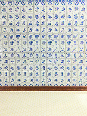 Dollhouse Miniature Blue & White Delft Wall Tiles Textured 1:12 Scale Kitchens