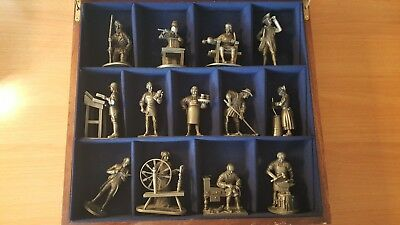 FRANKLIN MINT THE PEOPLE OF COLONIAL AMERICA 13 Pewter Figures in Wooden Box