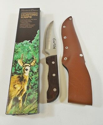 """Vtg Hunters Choice Fixed Blade Hunting Knife - Rosewood Handle, 6"""" Blade - NOS"""