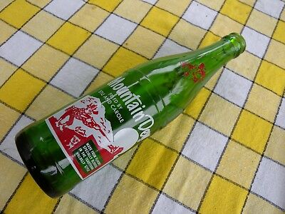 Vintage Mountain Dew Hillbilly Bottle Filled Stu Carole Akron OH Green Glass ACL