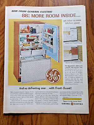 1962 GE General Electric Ad Spacemaker Refrigerator 88% More Room Inside